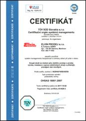 Certifikát OHSAS 18001_2007