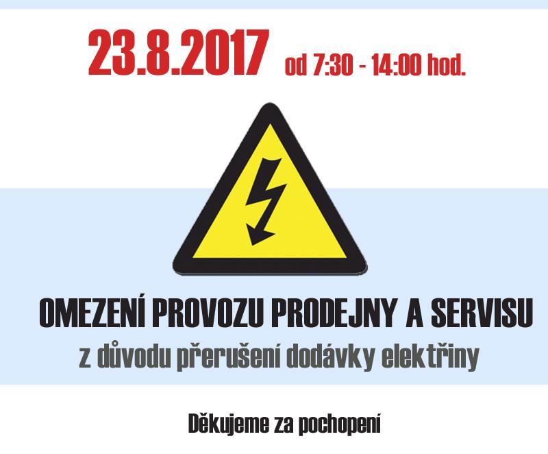 Omezení provozu prodejny a servisu 23.8.2017